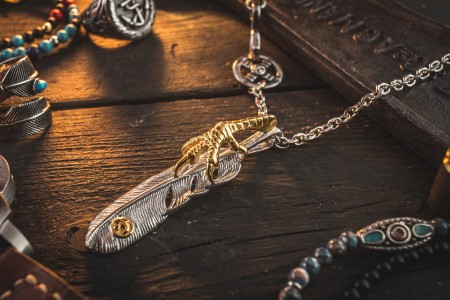 Nanneif  - Stainless Steel Men's Necklace With Golden Eagle Feather Pendant