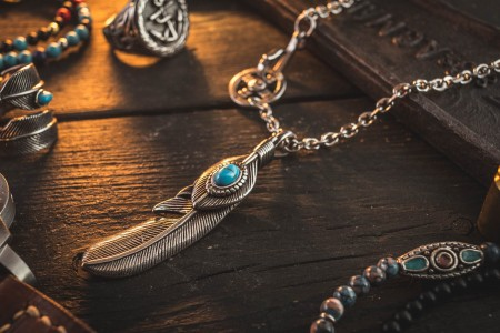 Ruslrus - Stainless Steel Men's Necklace With Antiqued Eagle Feather Pendant