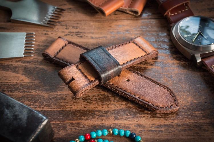 Distressed Handmade 24mm Antiqued Orangish Light Brown Leather Strap 125/85mm