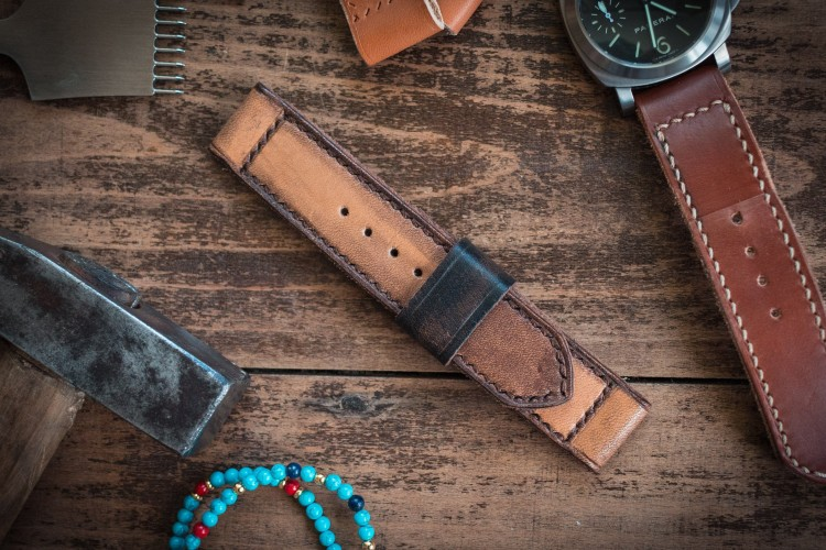 Distressed Handmade 24mm Antiqued Orangish Light Brown Leather Strap 125/85mm