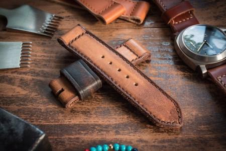 Distressed Handmade 24/24mm Antiqued Orangish Light Brown Leather Strap 125/85mm