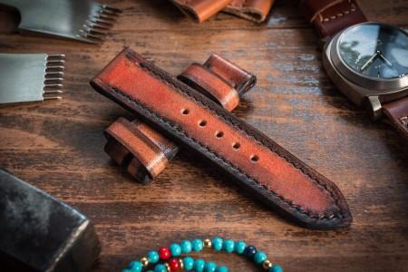 Antiqued Handmade 24/24mm Reddish Amber Leather Strap 125/72mm