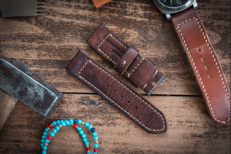 Distressed Handmade 24/24mm Antiqued Reddish Brown Leather Strap 120/84mm