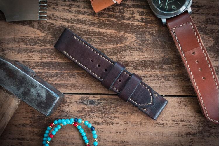 Handmade 24mm Antiqued Dark Brown Leather Strap 125/86mm
