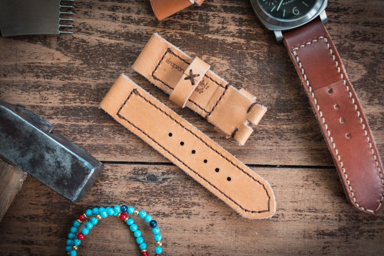 Handmade 24/24mm Chestnut Brown Leather Strap 125/82mm with Contrast Brown Stitching from STRAPSANDBRACELETS