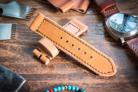 Handmade 24/24mm Chestnut Brown Leather Strap 125/82mm with Contrast Brown Stitching