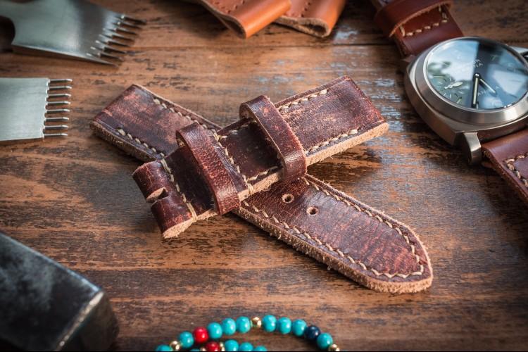 Distressed Handmade 24mm Dark Brown Leather Watch Strap 130/85mm