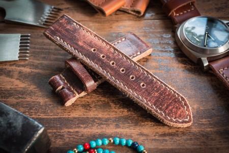 Distressed Handmade 24/24mm Dark Brown Leather Watch Strap 130/85mm with Beige Stitching