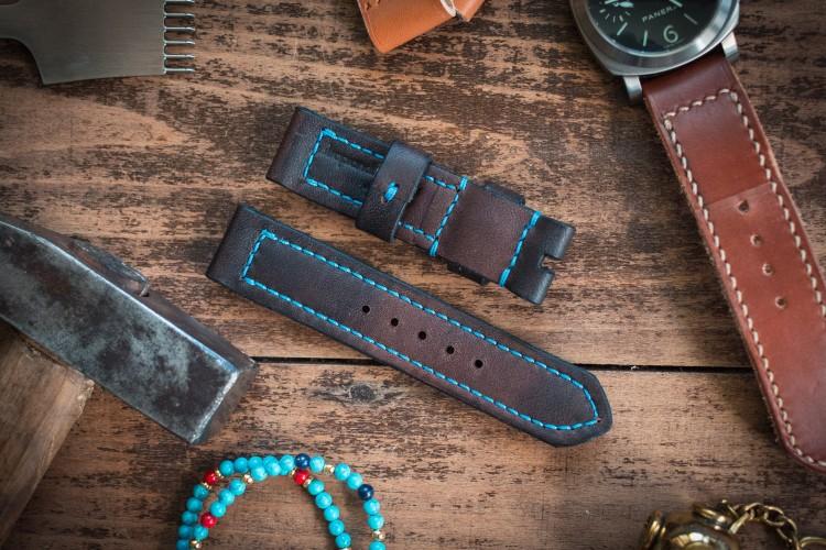 Handmade 22mm Antiqued Dark Brown Leather Watch Strap 122/86mm