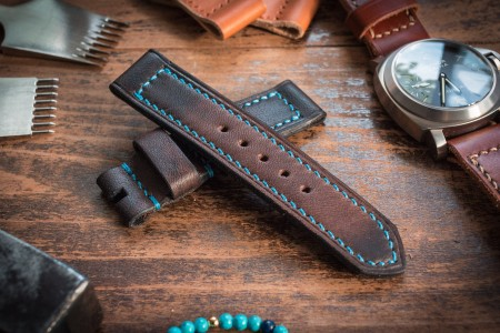 Handmade 22/22mm Antiqued Dark Brown Leather Watch Strap 122/86mm with Blue Stitching