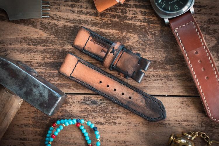 Distressed Handmade 24mm Antiqued Orangish Light Brown Leather Strap 124/85mm