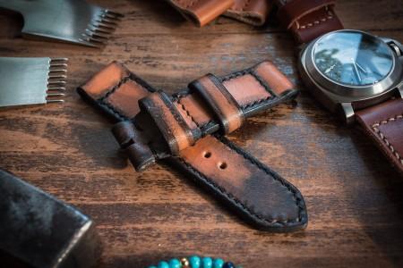 Distressed Handmade 24/24mm Antiqued Orangish Light Brown Leather Strap 124/85mm