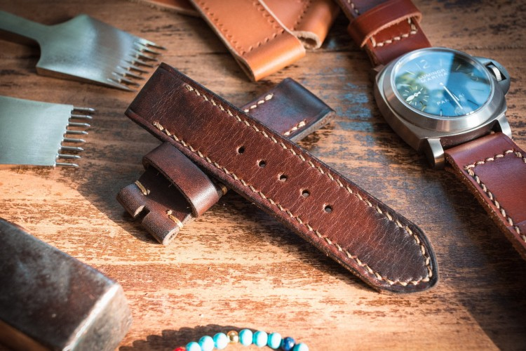 Antiqued Handmade 24/24mm Dark Brown Leather Strap With Contrast Stitching 124/85mm from STRAPSANDBRACELETS