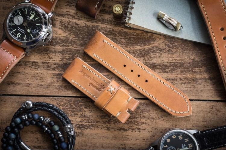 Distressed Handmade 24/24mm Light Tan Leather Strap 125/78mm with Beige Stitching