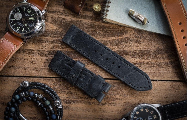 Handmade 24/24mm Black Leather Strap 127/80mm With Black Stitching