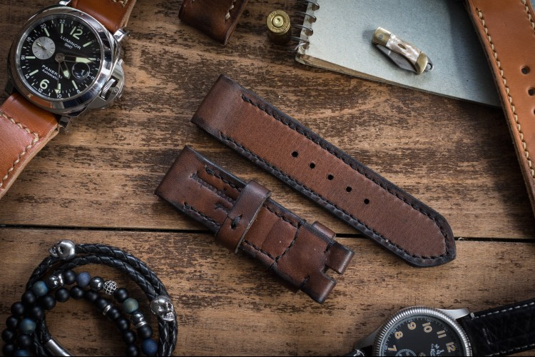 Antiqued Handmade 24/24mm Dark Brown Leather Strap 124/85mm with Black Stitching