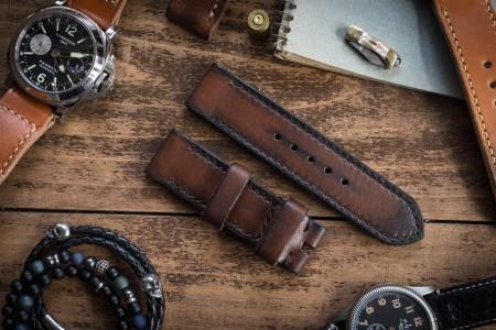 Antiqued Handmade 24/24mm Dark Brown Leather Strap 124/85mm with Black Stitching
