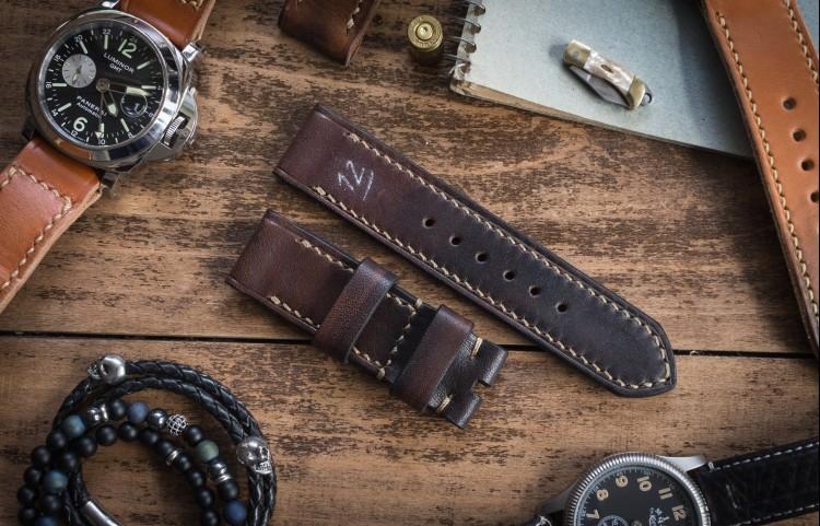Antiqued Handmade 24/24mm Dark Brown Leather Strap 129/80mm with Beige Stitching from STRAPSANDBRACELETS