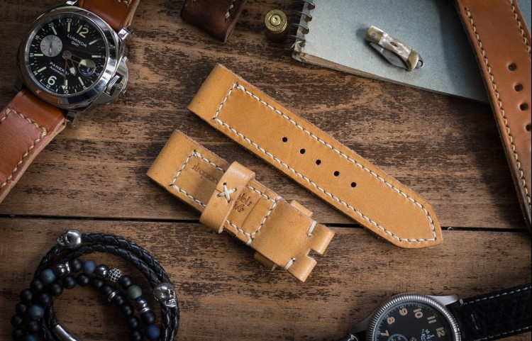Rustic Handmade 24/24mm Yellow Brown Leather Strap 126/85mm with Ivory Stitching