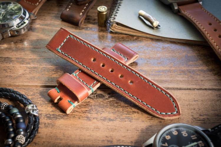 Antiqued Handmade 22/22mm Reddish Brown Leather Strap 125/85mm with Blue Stitching