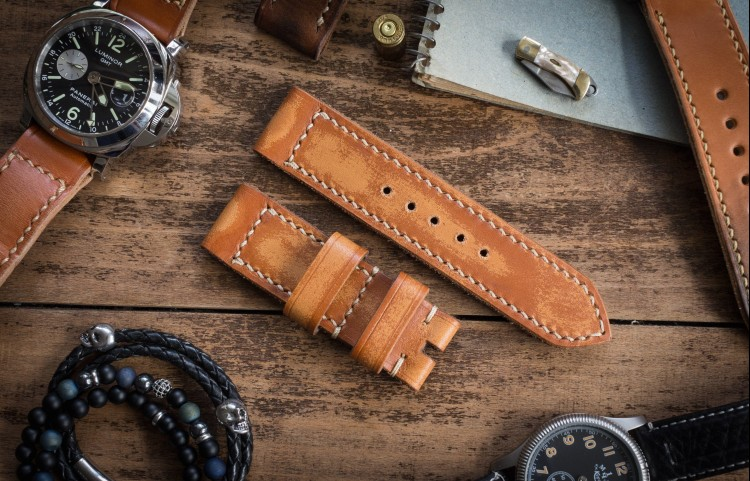 Antiqued Rustic Handmade 24/24mm Saddle Brown Leather Strap 126/82mm with Beige Stitching from STRAPSANDBRACELETS