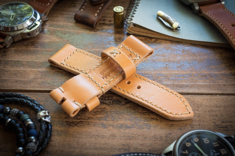 Handmade 24/24mm Yellow Brown Leather Strap 126/84mm with Beige Stitching