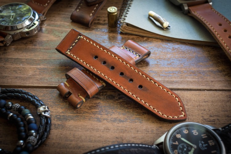 Antiqued Handmade 24/24mm Veg Tan Brown Leather Strap 126/85mm With Beige Stitching