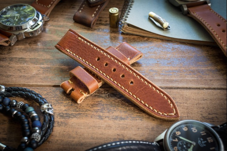 Handmade 22/22mm Badalassi Pull Up Cognac Brown Leather Strap 125/76mm with Beige Stitching