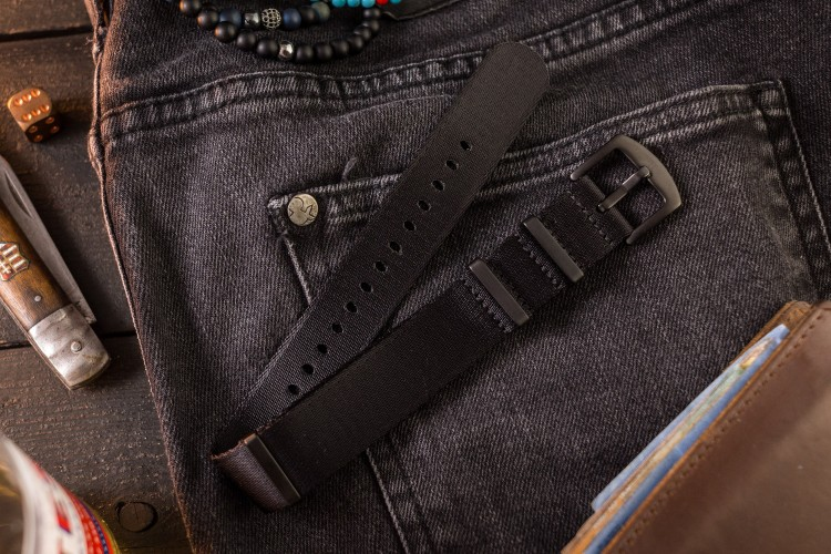 All Black premium Seat Belt Slip Through Nato Watch Strap