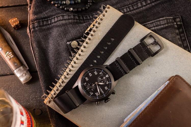 All Black premium Seat Belt Slip Through Nato Watch Strap (20 & 22mm) from STRAPSANDBRACELETS