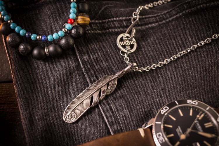 Wayll - Stainless Steel Men's Necklace With Antiqued Eagle Feather Pendant