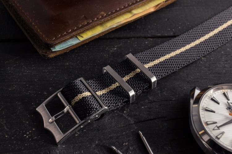 Black and Khaki Adjustable Single Pass Slip Through Watch Strap