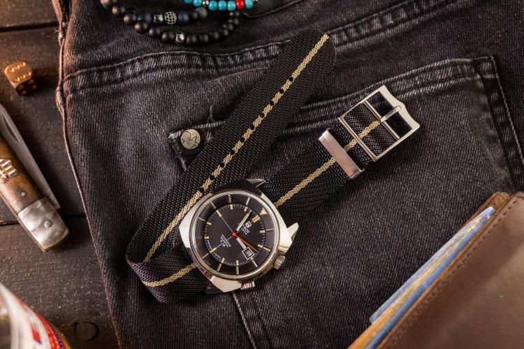Black and Khaki Adjustable Single Pass Slip Through Watch Strap