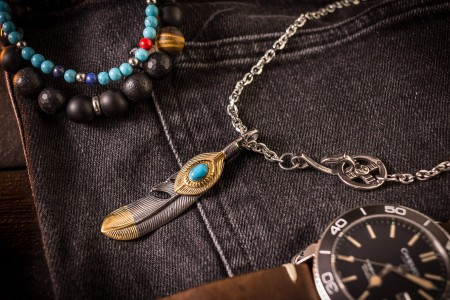 Dortada - Stainless Steel Men's Necklace with Eagle Feather Pendant