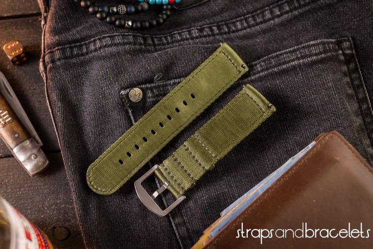 Olive Green Premium Seat Belt Two Piece Watch Strap