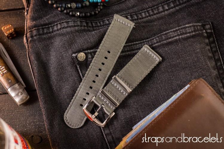 Gray premium Seat Belt Two Piece Watch Strap (20 & 22mm) from STRAPSANDBRACELETS