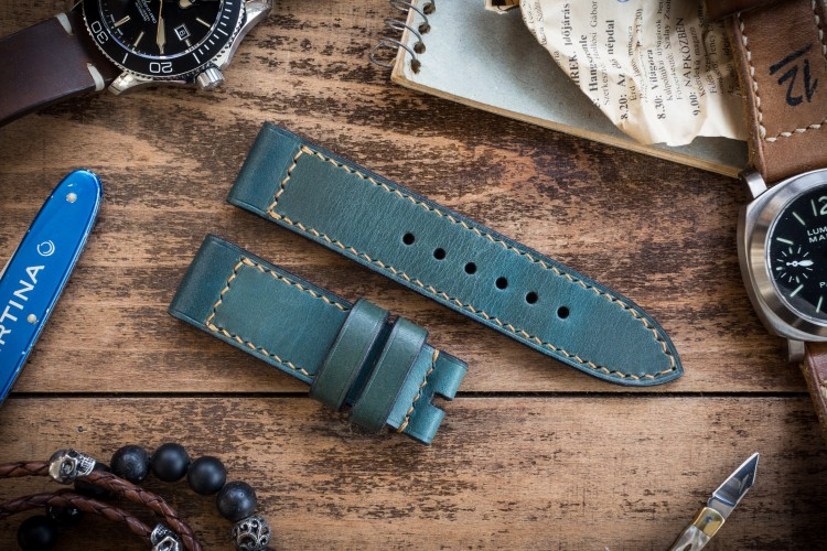 Antiqued Handmade 24/24mm Veg Tan Greenish Turquoise Leather Strap 130/80mm with Beige Stitching from STRAPSANDBRACELETS
