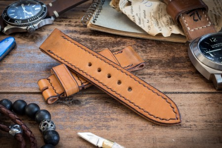 Antiqued Handmade 22/22mm Veg Tan Light Orangish Brown Leather Strap 125/80mm with Contrast Stitching