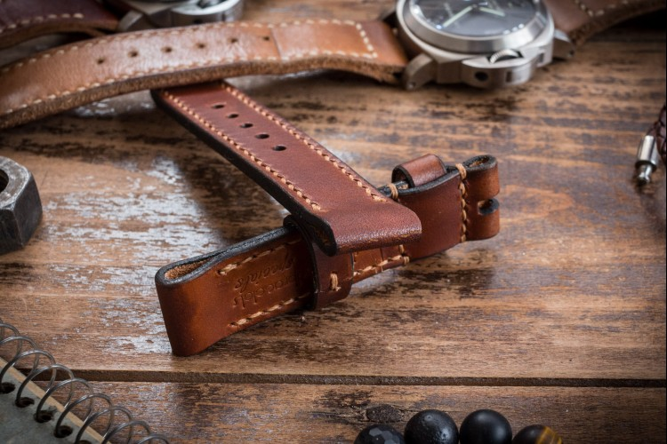 Antiqued Handmade 20/20mm Veg Tan Reddish Brown Leather Strap 125/80mm with Contrast Stitching