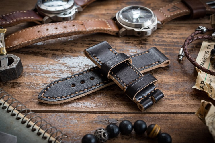 Handmade 24/24mm Veg Tan Black Leather Strap 125/80mm with Contrast Stitching