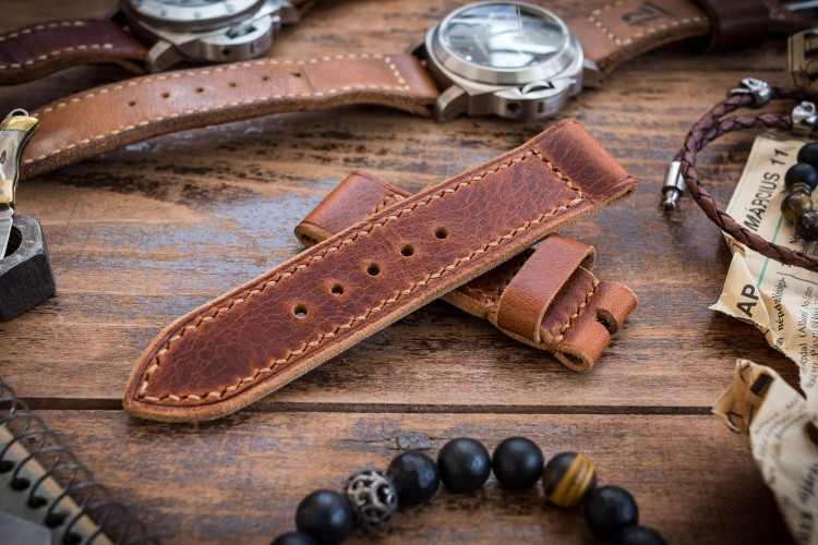 Handmade 24/24mm Cognac Brown Badalassi Pull Up Leather Strap 125/80mm with Contrast Stitching