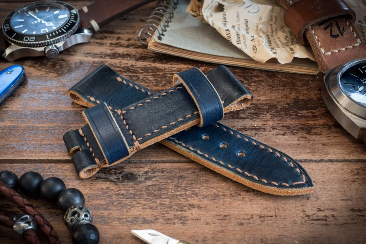 Antiqued Handmade 24/24mm Veg Tan Dark Blue Leather Strap 125/82mm with Contrast Stitching