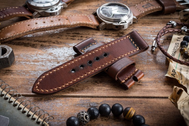 Antiqued Handmade 24/24mm Veg Tan Brown Leather Strap 125/80mm with Contrast Stitching