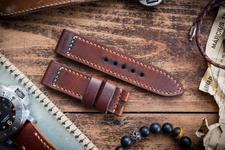 Antiqued Handmade 24/24mm Veg Tan Brown Leather Strap 125/80mm with Contrast Stitching from STRAPSANDBRACELETS