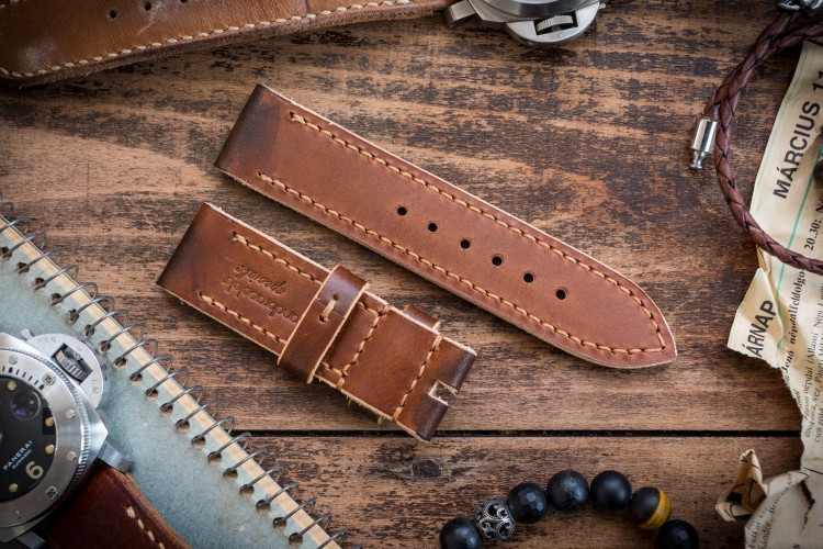 Antiqued Handmade 24/24mm Veg Tan Caramel Brown Leather Strap 125/80mm with Contrast Stitching