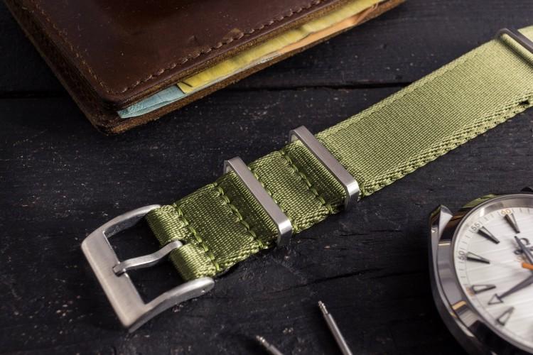 Army Green Premium Silky Seat Belt Slip Through Nato Watch Strap