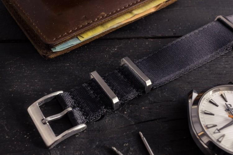 Black Premium Silky Seat Belt Slip Through Nato Watch Strap