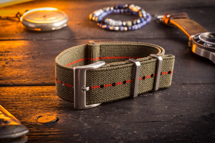 Army Green and Red Elastic Material Slip Through Nato Watch Strap
