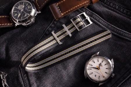 Bond - Black, Beige and Gray Adjustable Seatbelt Single Pass Slip Through Watch Strap (20 & 22mm)
