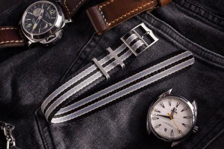 Bond - Black and Gray Adjustable Nylon Fabric Single Pass Slip Through Watch Strap (20 & 22mm)